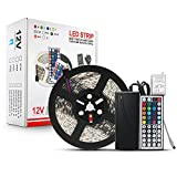 Blue Wind Led Strip Lighting 5M 16.4 Ft 5050 RGB 300leds Flexible Color Changing Full Kit with 44 Keys IR Remote Controller +Control Box+ 12v 5A Power Supply