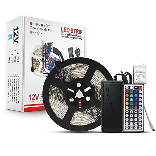 Blue Wind Led Strip Lighting 5M 16.4 Ft 5050 RGB 300leds Flexible Color Changing Full Kit with 44 Keys IR Remote Controller +Control Box+ 12v 5A Power Supply Remote Power Supply