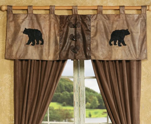 BLACK FOREST DECOR Bear Rustic Valance with Antler Buttons - Cabin Window Accessories
