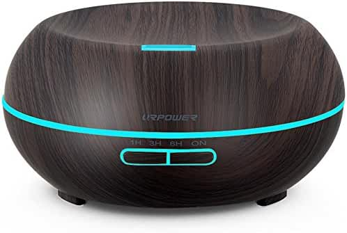 URPOWER Essential Oil Diffuser, 200ml Wood Grain Aromatherapy Diffuser Ultrasonic Cool Mist Aroma Humidifier with Adjustable Mist Mode, Waterless Auto Shut-Off, 7 Color LED Lights & 4 Timer Settings