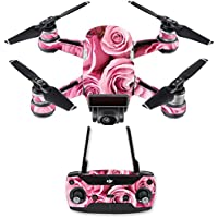 Skin for DJI Spark Mini Drone Combo - Pink Roses| MightySkins Protective, Durable, and Unique Vinyl Decal wrap cover | Easy To Apply, Remove, and Change Styles | Made in the USA