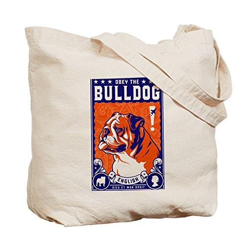 Cafepress–Obey The Bulldog inglese.–Borsa di tela naturale, tessuto in iuta