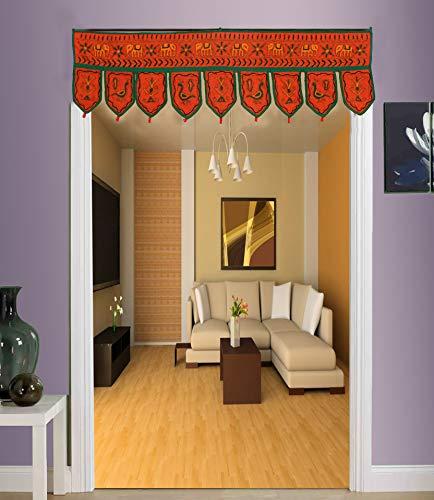 (Wall Door Hanging Toran Indian Tapestry Home Decor Ethnic Window Valance Home Decor Vintage Embroidered Door Hanging (Orange))