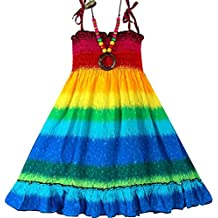 Summer Style Little Girls Fashion Sleeveless Bohemian Knee-length Beach Dresses