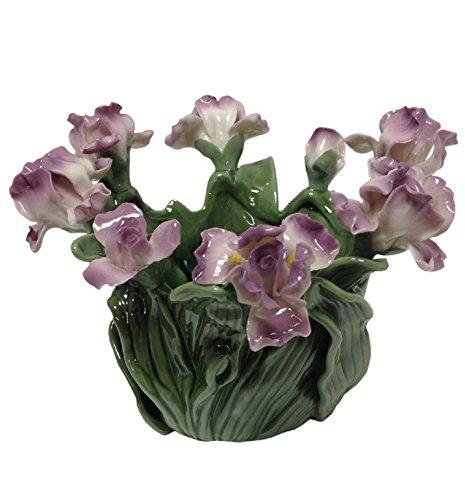 Cosmos Bearded Iris Sculpted Porcelain Pillar Candleholder - (Cosmo Cottage)