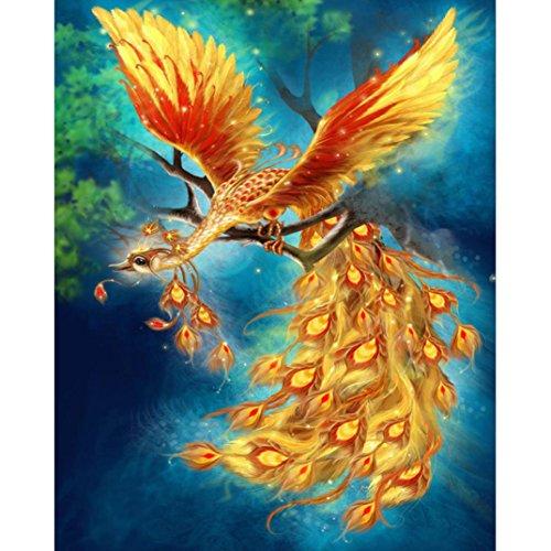 Fineser DIY 5D Diamond Embroidery Paintings Mosaic Cross Stitch Craft Art For Home Decoration (Gold Phoenix(30x25cm))