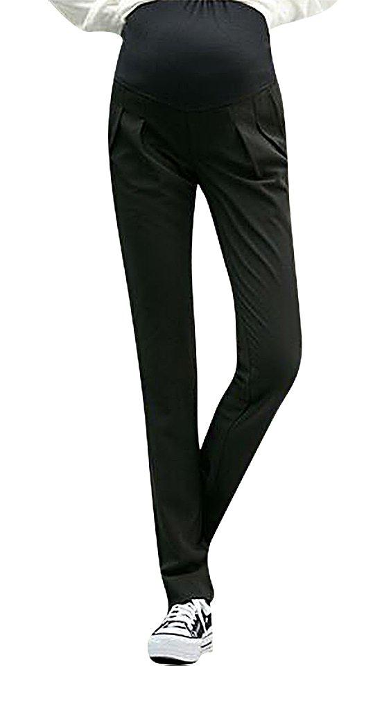 MTRNTY Women's Maternity Stylish High Elastic Waist Comfortable Capris / Pants, Black Pants Large