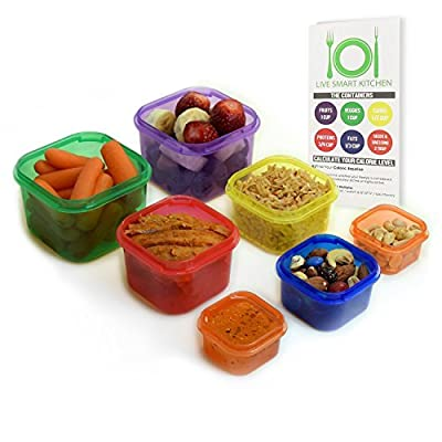 Live Smart Kitchen 7 Piece Multi-Colored Portion Control Container Kit with Guide, Leak Proof