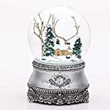 """Roman 5.5"""" Cottage with Tree Glitter Silver Base"""