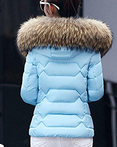 Giacche Giacca Donna Parka Cappotto Blu Con Outwear Abbottonato Cappuccio Invernale qxwFa1wtZ