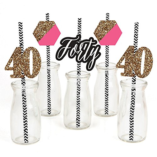 Chic 40th Birthday - Pink, Black and Gold Paper Straw Decor - Birthday Party Striped Decorative Straws - Set of 24