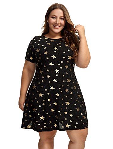 (OEUVRE Women's Metallic Star Tunic Stretch Dress Short Sleeve Jersey Plus Size Black)
