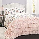 3 Piece Girls Pink Flutter Butterflies Quilt Full Queen Set, Beautiful All Over Colorful Pretty Butterfly Print, Elegant Luxurious Ruffles Pattern Bottom, French Country Shabby Chic Style, Polyester