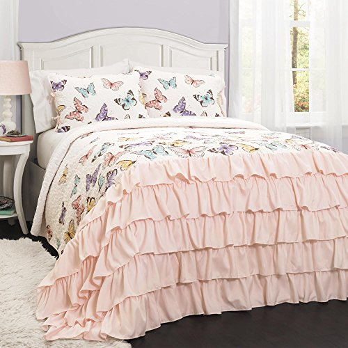 2 Piece Girls Pink Flutter Butterflies Quilt Twin Set, Beautiful All Over Colorful Pretty Butterfly Print, Elegant Luxurious Ruffles Pattern Bottom, French Country Shabby Chic Style, Polyester by Ln