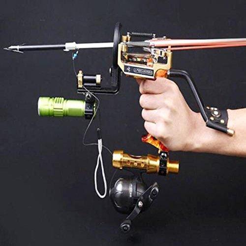 Bowfishing Crossbow - HBG Powerful Pro Fishing Slingshot Reel Catapult Archery Bowfishing Arrows Slingbow with Arrow Brush ,Fishing Reel ,Fishing Reel Rack,Flashlight