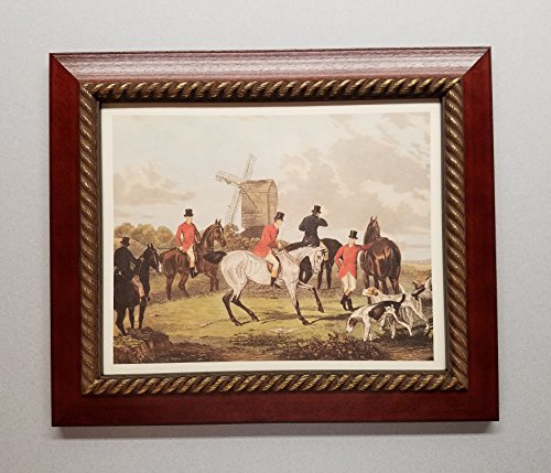 The Meet - English Fox Hunt Scene Picture - Beagle Horses Bugles Creek - Cherry Frame