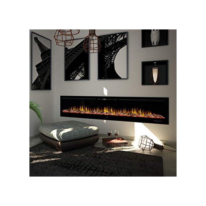 51ctJp3XljL Tecnología LED, calentamiento conmutable (ventilador), partes de repuesto disponibles Tres efectos de llama distintos y decoración lumínica intercambiable (madera con efecto brillo, acrílico brillante y piedras blancas). Panel táctil con iluminación y control remoto integral (apagado/encendido, 3 efectos de llama, 5 brillos, temporizador 0,5- 7,5 horas, calentador 750/1).500 vatios.