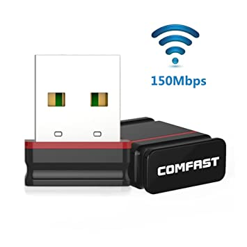 COMFAST Mini WiFi Adaptador CF-WU810N 150Mbps WiFi USB Inalámbrico 2.4GHz WiFi Receptor Dongle para PC Windows XP/Vista/7/8/8.1/10, MacOS 10.6-10.11