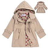 CNlinkco Girls' Raincoat, Cute Long Sleeve Flower Waterproof Hooded Jacket Outerwear (Khaki, 130 (Age For 6-7Y))