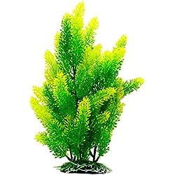 ZAZALUM Artificial Aquarium Plastic Plants, Fish Tank Green Decoration Aquatic Water Grass Ornament with Ceramic Base, Yellow-tip-12in
