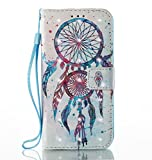 S6 Phone Case, S6 Wallet Case, S6 Flip Case, JanCalm [Wrist Strap][Kickstand][3D Painted][Card/Cash Slots] Pattern Premium PU Leather Wallet Magnetic Flip Folio Cover + Crystal pen (Dream Catcher)
