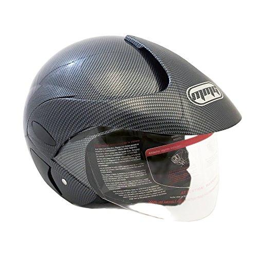 Motorcycle Powersports Open Face Helmet DOT Street Legal - FlipUp Clear Shield - Carbon Fiber (Size: XXL) by MMG (Image #5)