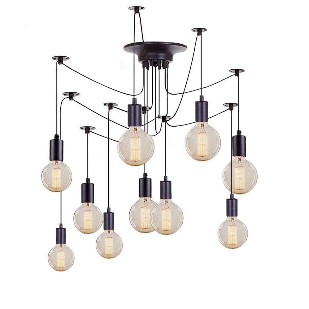 U-Enjoy Kronleuchter Weinlese-Leuchter E27 Luster Wohnzimmer Beleuchtung für Loft Spinne Beleuchtung Fixture Adjustable Küche Restaurant Diy Kostenloser Versand [10 Köpfe]