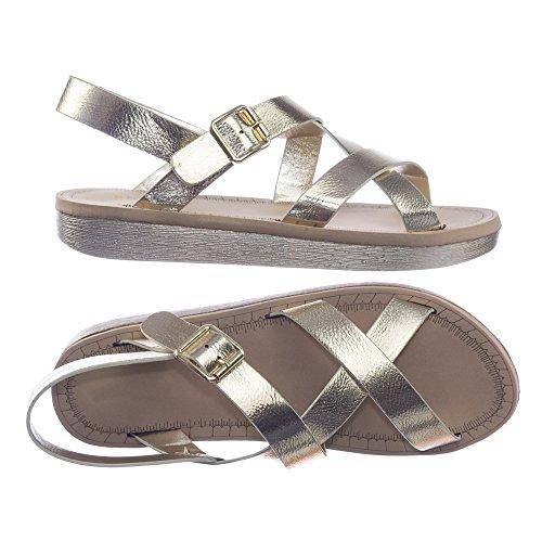 Bamboeschuim Platte Open Sandalen Met Open Teen, Ultra Lichte Platformschoenen 33 Goud