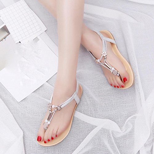Summer Ankle Sandals Women Woman Silver Bohemia TM Shoes Shoes Strap DEESEE Flops Flat xwT0E