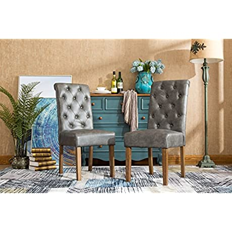 Roundhill Furniture C163GY Habit Faux Leather Tufted Parsons Dining Chairs With Solid Wood Frame Set Of 2 Gray