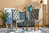 Roundhill Furniture C163GY Habit Faux Leather Tufted Parsons Dining Chairs with Solid Wood Frame, Set of 2, Gray