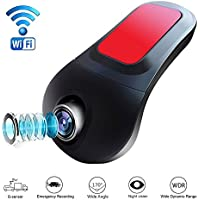 Small-eye Car Dash Cam with Wifi, Car DVR Camera APP Support IOS/Android System, Recorder 170 Degree Super Wide Angle Loop Recording Night Vision G-Sensor