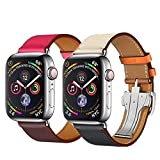 Hermes Inspired Genuine Leather Single Tour Deployment Buckle Replacement Accessory Wrist Band For Apple Watch 4 3 2 1 38mm 42mm 40mm 44mm