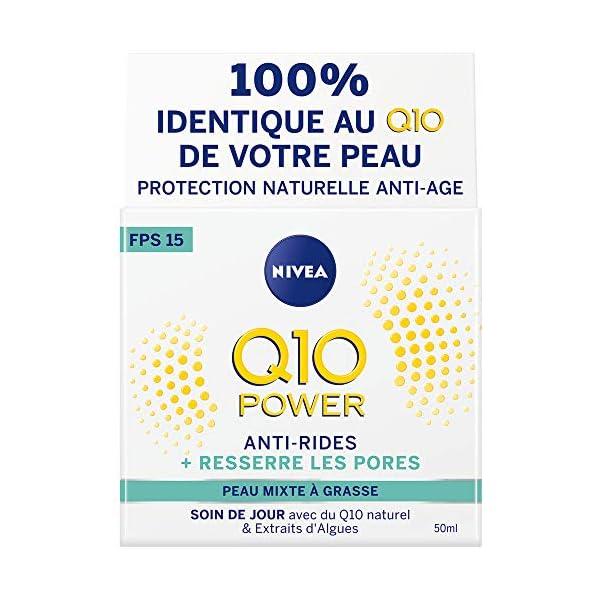 NIVEA Q10 Power Soin de jour Anti-Rides +Resserre les pores FPS 15 (1 x 50 ml), crème anti-âge enrichie en Q10…