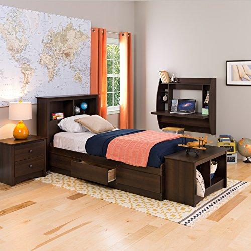 espresso twin mateu0027s platform storage bed with 3 drawers
