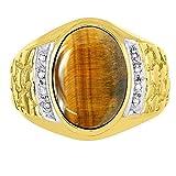 Mens Tiger Eye & Diamond Ring 14K Yellow or14K White Gold Nugget Band