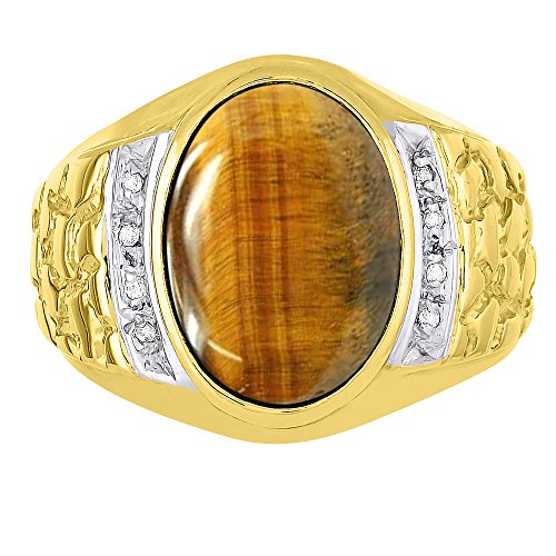 Mens Tiger Eye & Diamond Ring 14K Yellow or14K White Gold Nugget Band