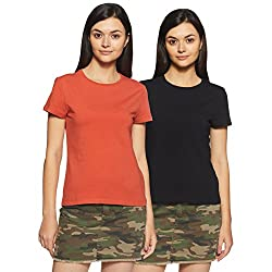 Amazon Brand – Symbol Women's Solid Regular Fit Half Sleeve T-Shirt (Combo Pack of 2)