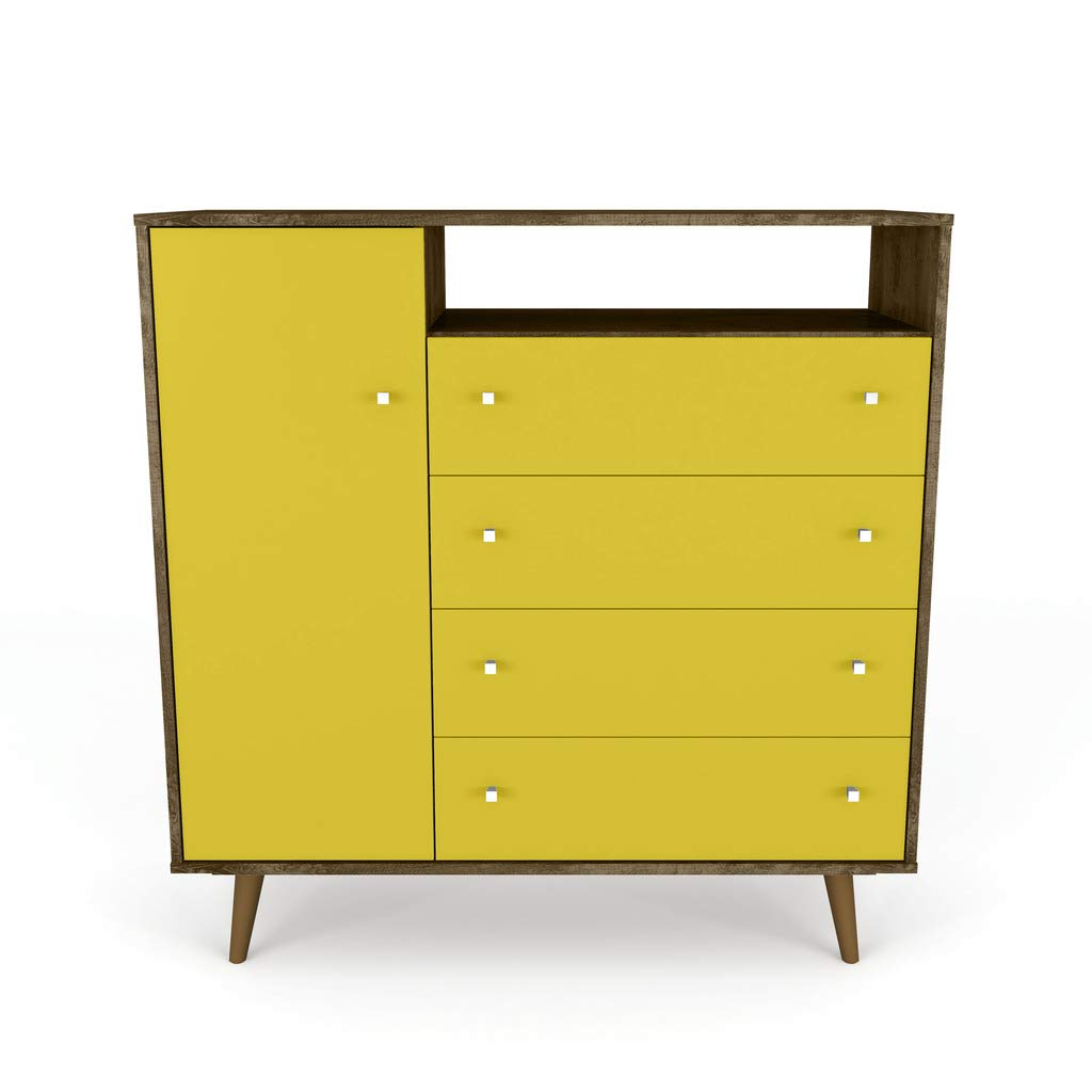 Manhattan Comfort Liberty Modern Bedroom Armoire And TV Stand, Yellow by Manhattan Comfort