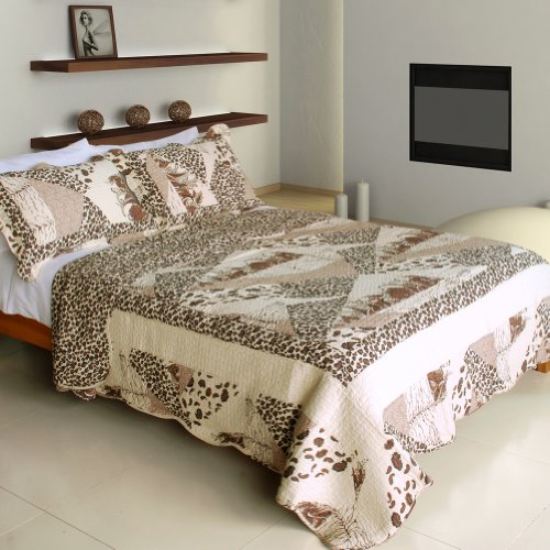 [Delicate Leopard] 100% Cotton 3PC Vermicelli-Quilted Patchwork Quilt Set (Full/Queen Size)