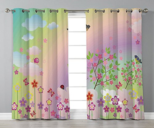 (Stylish Window Curtains,Flying Birds Decor,Fairy Spring Illustration with Flying Birds Clouds and Flowers Happines Love Theme Home,Multi,2 Panel Set Window Drapes,for Living Room Bedroom Kitchen)