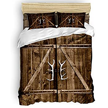 Image of 4 Piece Bedroom Bedding Set California King, Include Duvet Cover Bed Sheet Pillow Shams, Deer Antler Door Handles Rustic Old Wooden Country Life Architecture, Microfiber Soft Quilt Cover for Kids Home and Kitchen