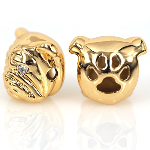 (SouthBeat Micro Pave CZ Bulldog Beads Dog Head Bead for Men Charm Bracelet Spacer Beads Jewelry DIY Accessories 13x11mm 10Pcs)