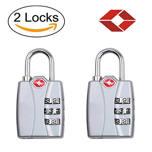 FUSHITON TSA Approved Locks with Alloy Body Open Alert Indicator for Luggage Suitcases (Silver(2pcs))