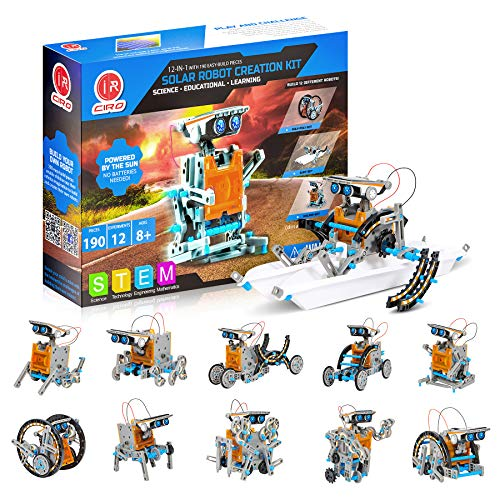 CIRO 12 in 1 STEM Solar Robot Kit , Educational Learning Science Building Toys for Kids Age 8+ Years Old Boys (190…
