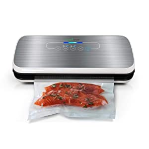 Vacuum Sealer By NutriChef | Automatic Vacuum Air Sealing System For Food Preservation w/ Starter Kit | Compact Design | Lab Tested | Dry & Moist Food Modes | Led Indicator Lights (Silver) (Renewed)