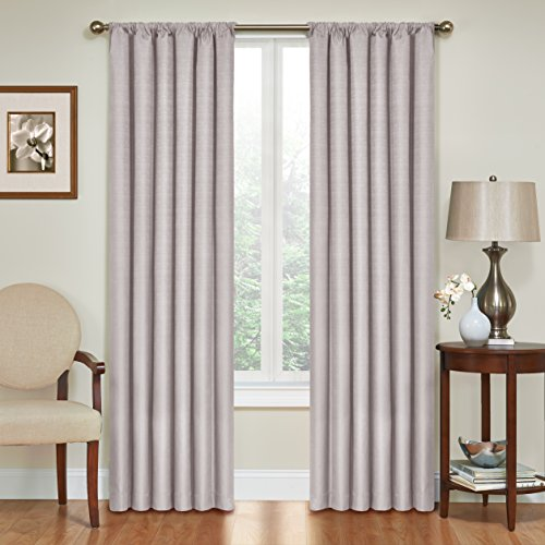 "ECLIPSE Blackout Curtains for Bedroom - Kendall Insulated Darkening Single Panel Rod Pocket Window Treatment Living Room, 42"" x 63"", Grey"