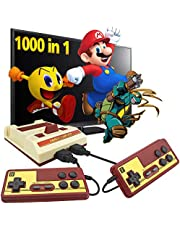 DJMUMU Retro Game Console, 1000 Games AV Output Plug and Play Classic Video Game Console Red-White