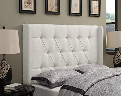 Upholstered Tufted Headboard - Pulaski DS-D017-270-432 Shelter Button Tufted Upholstered Headboard, Cal King, Linen