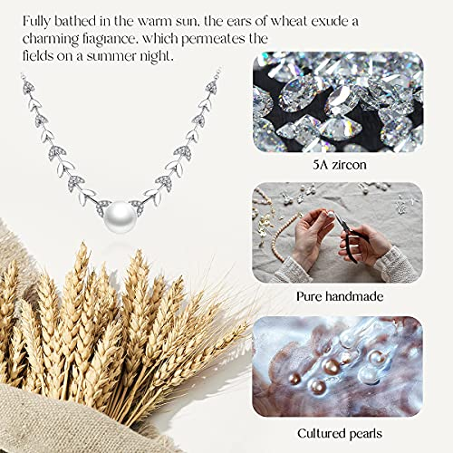 Canrtora Pearl Necklace for Women with White Pearl Necklace Silver Pearl Necklace Pendant Gift for Girl and Women